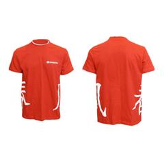 Футболка красная с белой отделкой с иероглифами
